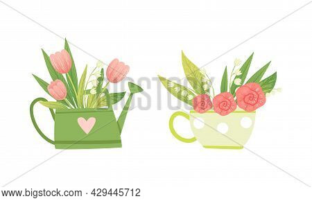 Spring Blooming Pink Tulip And Lily Of The Valley Flower Bouquet Vector Set