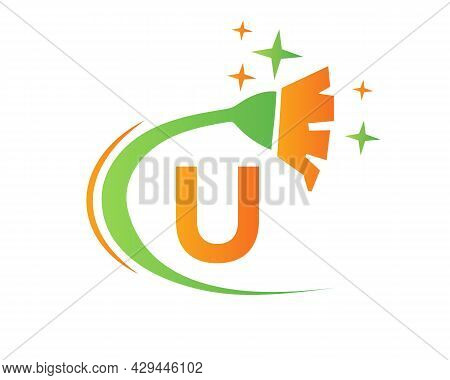 Cleaning Logo With U Letter Concept. House Clean And Broom Logo. U Letter Maid Logo Design