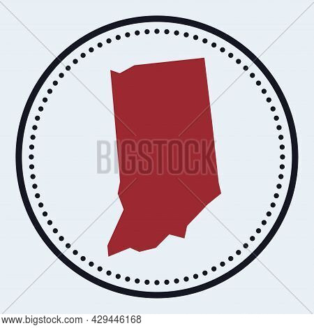 Indiana Round Stamp. Round Logo With Us State Map And Title. Stylish Minimal Indiana Badge With Map.