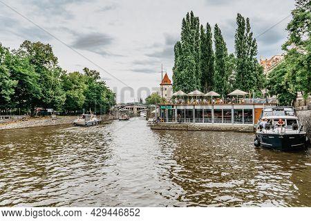 Prague, Czech Republic-august 4,2021.jazz Dock Music Club On Vltava River,tourist Boats.concerts,per
