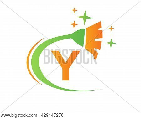 Cleaning Logo With Y Letter Concept. House Clean And Broom Logo. Y Letter Maid Logo Design