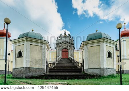 Mountain Of Holy Mother With Baroque Hedec Monastery And Staircase In East Bohemia,czech Republic.fa
