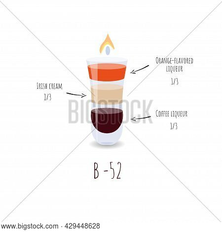 B-52 Cocktail On A White Background. A Glass Of Cocktail Is Burning. Alcoholic Cocktail.
