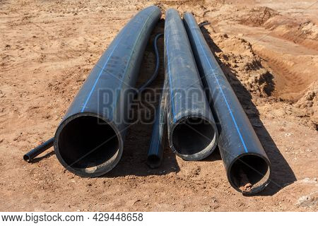 Plastic Pipes For Water Supply System. New Plastic Pipes. Materials For The Construction Of Water Su