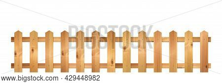 Wooden Fence Isolated On A White Background. Rural Building