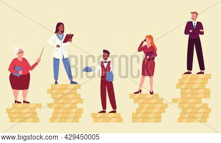 Male And Female Characters Are Standing On Coins Showing Their Financial Inequality. Concept Of Unfa