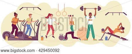 Male And Female Athletes Are Doing Exercises And Training In Gym Together. Concept Of Sporty People