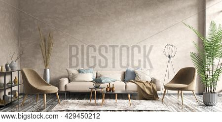 Modern Interior Of Apartment With Beige Stucco Wall And Rug On The Floor. Cozy Living Room With Beig