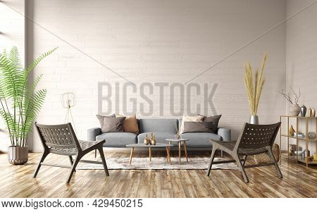Modern Interior Of Apartment With Beige Walls. Cozy Living Room With Gray Sofa, Coffee Tables And Bl