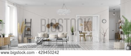Modern Interior Design Of Scandinavian Apartment, Living Room With White Sofa, Dining Room And Hall.