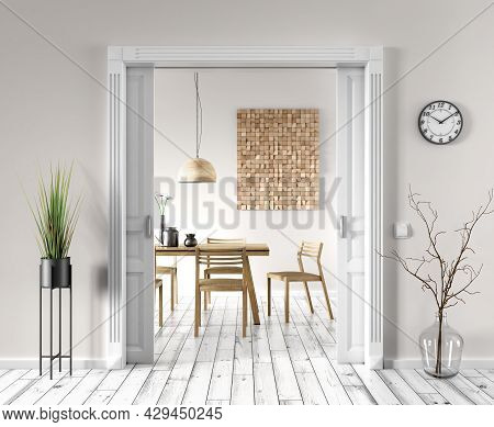 Interior Of Living Room With Beige Wall And White Door To The Modern Dining Room, Wooden Table And C