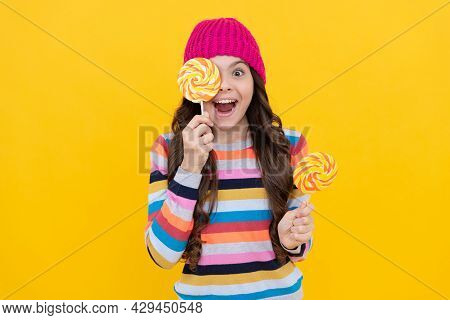 Concept Of Dental Health. Sweet Tooth. Yummy. Happy Teen Girl Hold Lollipop. Lollipop Lady.