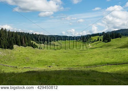 Grassland In The Jura Mountains, Switzerland. A Wide Valley On A Beautiful Summer Day.
