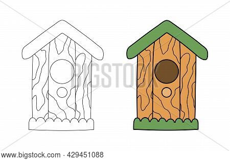 Wooden Birdhouse With A Hole And A Perch In A Simple Flat Graphic Outline Style. Isolated Vector Gar