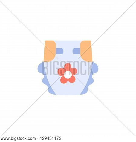 Diaper Isolated Flat Icon. Blue Newborn Nappy On White Background. Color Vector Illustration.