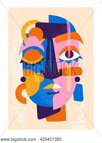Cute Colorful Abstract Face On Pastel Yellow Background. Concept Of Abstract Art Colorful Face Portr