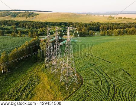 High-voltage Power Transmission Line For Electricity Transmission From Power Station To Consumer