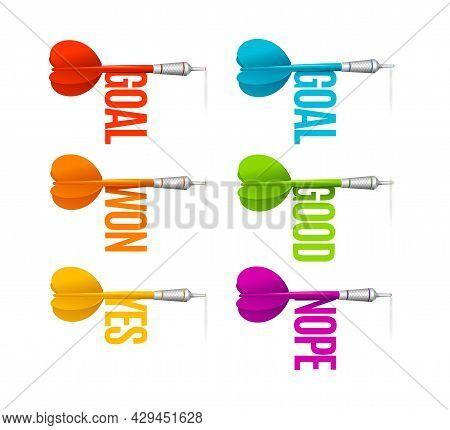 Realistic Detailed 3d Color Goal Darts Set Business Strategy Success And Achievement Concept. Vector