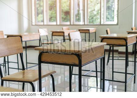 Classroom High School Empty No Children Teacher When Covid-19 Disease Outbreak Closed Quarantine, No