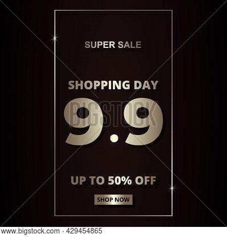 9.9 Shopping Day Luxury Golden Elegant Hot Sale Promotion Banner Template. 9 September Sale Banner T