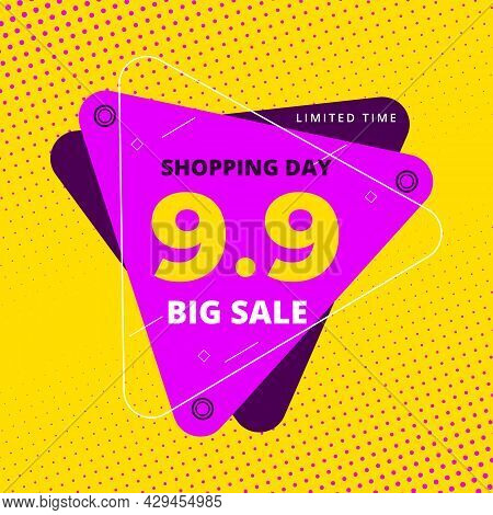 9.9 Shopping Day Colorful Hot Sale Promotion Banner. 9 September Sale Banner Template. Big Sale Limi
