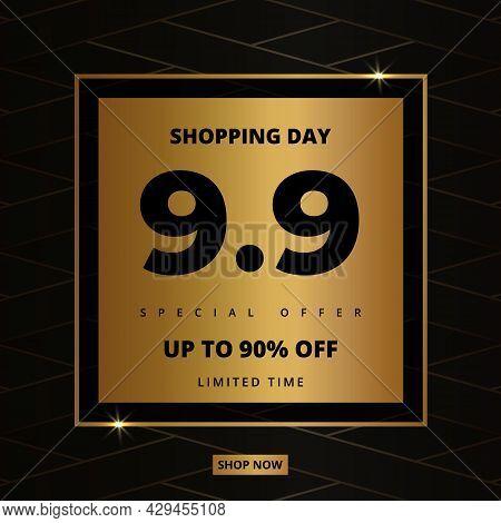 9.9 Shopping Day Golden Luxury Elegant Hot Sale Promotion Banner. 9 September Sale Banner Template.