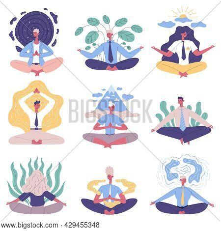 Office People Group Meditation Yoga Lotus Posture. Meditation Relaxing Practicing Office People Vect