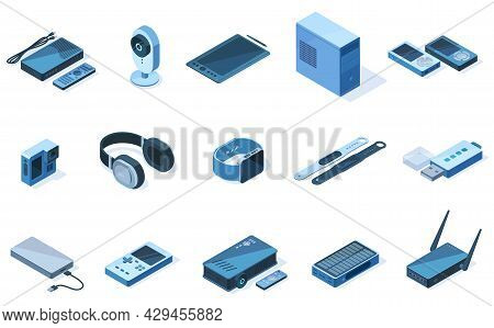 Isometric Wireless 3d Technology Electronic Gadgets Equipment. Tablet, Headphone, Tracker Devices Ve