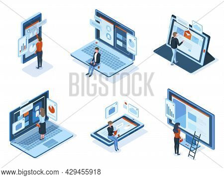 Isometric Characters Use Technology Gadgets Interfaces. People Work Or Study Use Laptop Tablet Smart