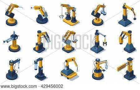 Isometric Factory Mechanised Automated Robotic Arms. Factory Industrial Automated Robotics Arms, Mec