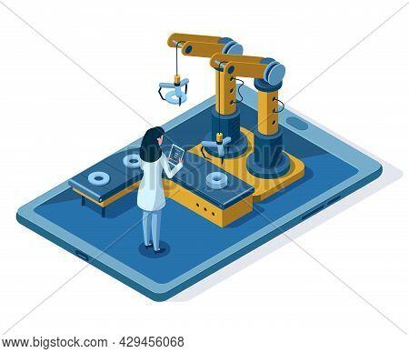 Isometric Automated Robotic Arm Engineering Management. Automated Robotic Assembly Line, Engineer Co
