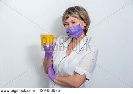Natural Honey Sugar Paste Shugaring Closeup. Women Beautician Holds Jar Wax Of Paste For Sugar Depil
