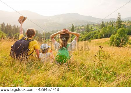 Waving Hello. Green Travel Family Nature. Happy Family Mountain Vacation Time Together Travel Lifest