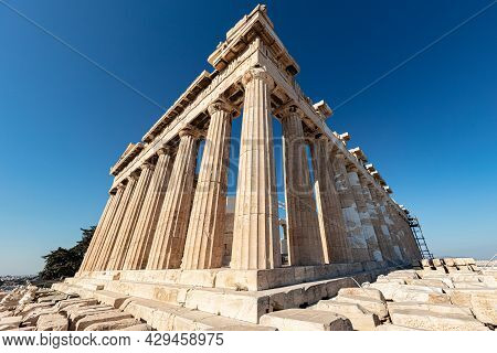 Athens, Greece - August 13, 2020: The Acropolis, The Most Famous Citadel In The World On The Hills O