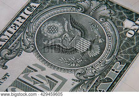 Macro Close Up Of A 1 Us Dollar Banknote. Close Up Of A One American Dollar Note. Us Dollar Is The W