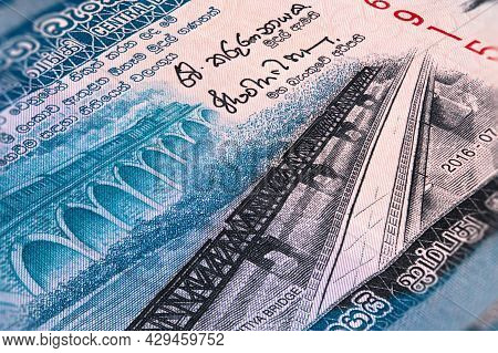 Macro Photography Of Sri Lanka 50 Rupees Money. Sri Lanka 50 Rupees. Close Up To The Sri Lanka Paper