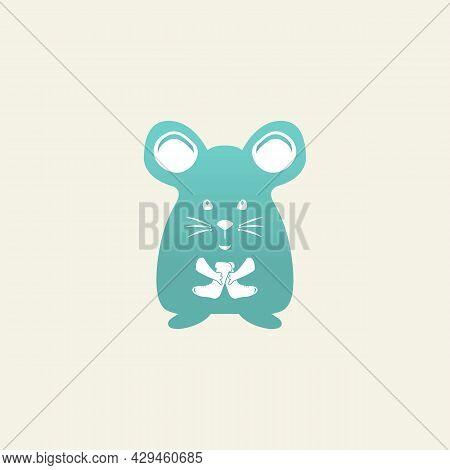 Simple Cartoon Mouse Logo. Modern Geometric Mouse Silhouette, Vector Illustration.eps 10