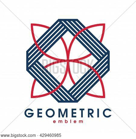 Abstract Geometric Flower Shaped Floral Vector Symbol Isolated On White, Line Art Geometrical Shape