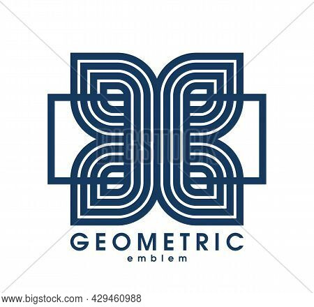 Geometric Vector Line Art Logo Isolated On White, Abstract Linear Contemporary Style Symbol, Geometr