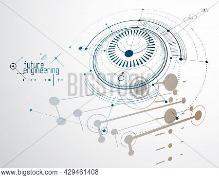 Futuristic Abstract Vector Technology Background. Mechanical Engineering Wallpaper.