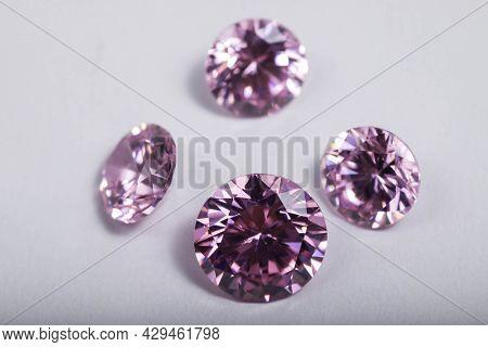 Macro Shot Of Beautiful Colored Sparkling Syntethic Diamond
