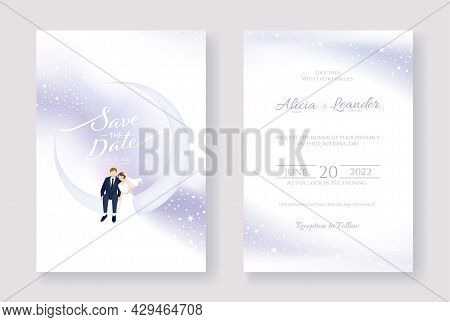 Set Of Wedding Cards, Invitation, Save The Date Template. Bride And Groom Are Sitting On The Moon Im