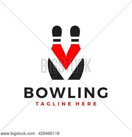 Bowling Ball Sports Illustration Logo Design With Letter V