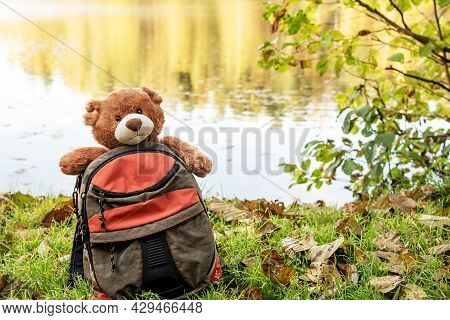 Small Backpack With Funny Brown Teddy Bear Lost On Riverbank Covered With Green Grass And Dry Leaves