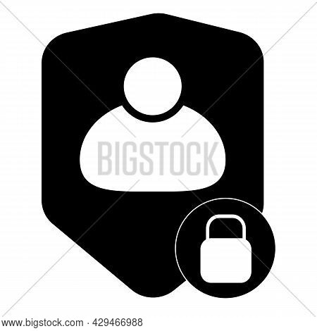 User Login Or Authenticate Icon On White Background. User Protection Sign. Personal Protection Symbo