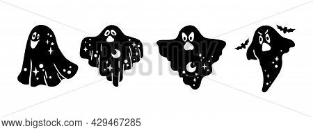 Cute Halloween Ghost Silhouette Bundle, Funny Celestial Ghost Black And White Isolated Clipart On Wh