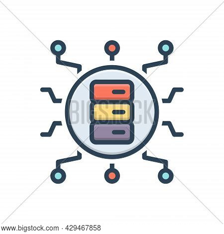Color Illustration Icon For Big-data Storage Stock Store Server Electronic