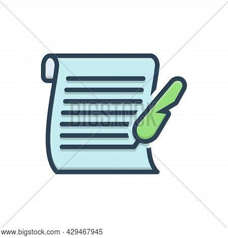 Color Illustration Icon For Letter Messages Tidings  Text Scenarios  Script Document Manuscript Cert