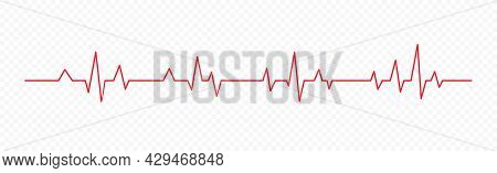 Red Heartbeat Line Icon Isolated On Transparent Background. Pulse Rate Monitor. Electrocardiogram. V