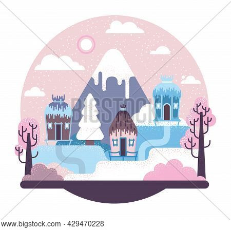 Thatched Stilt Prehistoric Houses - Hills, Mountains And Trees Covered With Snow - Vector Cartoon Il